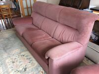 Parker knoll columbine suite raspberry sofa and reclining armchairs will separate if needed
