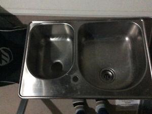 Double stainless steel kitchen sink