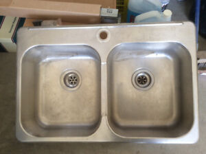 Stainless steel double sink (one hole installation only)