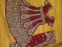 Very heavy bridal frock dress 2 piece new size 8 stones and velvet
