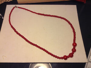 Antique Natural Coral Beads Chinese OX Blod Color Necklace