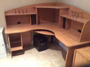 Office desk, computer desk, filing cabinet, bookcase