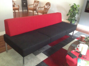 Sofa; black and red