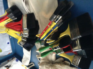 Assorted paint brushes,2 aprons & 1 pair of gloves --$35.