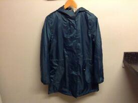 Ladies waterproof winter coat,blue,size 10,as new.