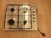 Gas hob, cooker hood (extractor) and splashback in stainless steel