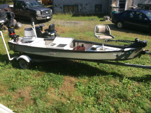 "15' long 4'6"" wide Cheenee boat , 25 hp Merc,and trailer , swap"
