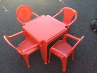 Children's red plastic table and chairs