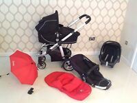 I candy pram with carry cot and car seat foot muff