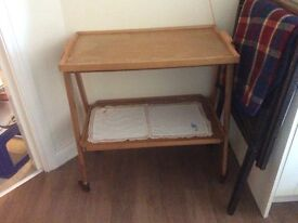 Vintage tea/hostess trolley with removable tray, food preparation, bed tray