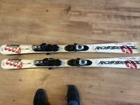 142cm rossignol skis, poles and boots