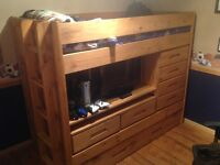 Solid wood bed with desk and storage