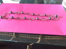 Silver hallmarked real pearl necklace