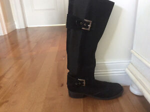 Black suede riding style boots