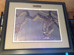 Robert Bateman print in the oak great horned owl, print signed
