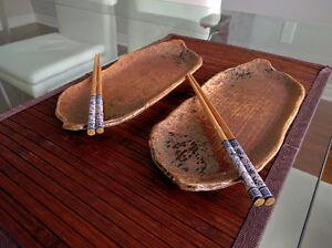 Set of Two Japanese Pottery Sushi Plates/Boats