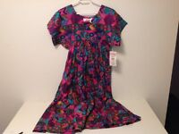 Dress - red/turquoise pattern, 1-size, see photos. (NC48)