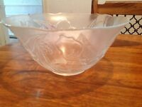 Glass Floral Bowl x 1 for Salad or Desserts