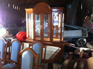 Solid Oak Table, Chairs, & Hutch.
