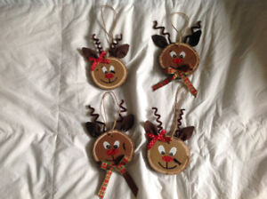 Homemade reindeer wood ornaments