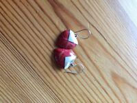 Coral and Sterling silver heart shaped earring