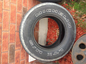 Set of 4 Michelin LTX tires and steel wheels off of gmc truck Kitchener / Waterloo Kitchener Area image 1