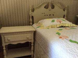Solid wood bed, side table, dresser, mattress and quilt set