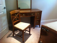Antique Mahogany Vanity Desk with mirror and chair