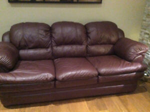 Burgundy 3-piece leather couch set