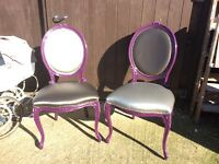 Super glam purple metallic salon chairs