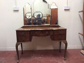Vintage queen anne dressing table with triple mirror