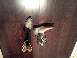 Size 9 grey and black leather cowboy boots