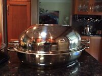 Paderno large roasting pan with lid and rack