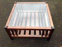 Laura Ashley glass topped coffee table