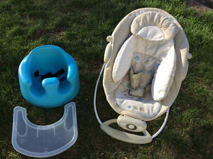 Bumbo chair and Bright start Baby Bouncer both for 50$