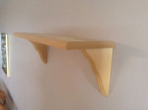 WOOD WALL SHELF, NEW, READY TO PAINT OR STAIN