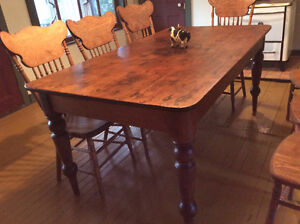 Antique Harvest Table and Chairs
