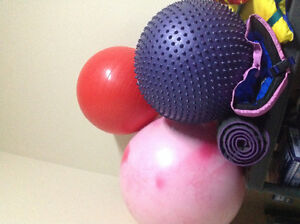 Yoga Mats and Exercise Balls.