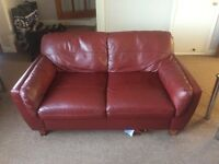 Deep Red Leather Sofa £30 no offers
