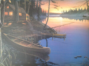 2 BEAUTIFUL FRAMED PRINTS OF CANOES
