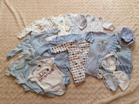 Lovely boys bundle 0-3 months baby grows, vests, hats and bibs.