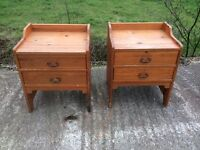 Pair of pine bedside cabinets with drawers
