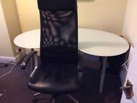 Computer chair and IKEA Glass Computer table USED