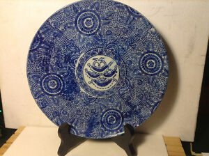 CHINESE EARLY 19th C. BLUE & WHITE FLORAL GEOMETERICAL PLATE CHA