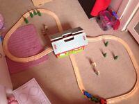 Child's wooden train set
