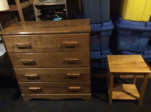 4 drawer dresser, dressing table and night table