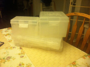 4 clear storage bins for fishing tackle