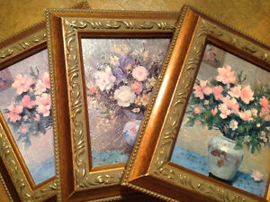 Set of 3 small adorable framed floral oil paintings