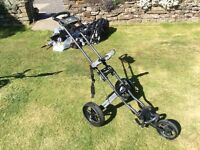 Golf trolley 3 wheels twinline frame folds to small compact