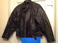Leather, retro, motorcycle jacket XXL -Black